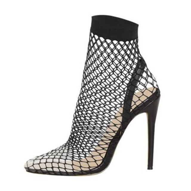 Pointed Toe Heels Summer Fishnet Sandals Mesh Holes Sexy Female Shoes Party High Heel Ankle Boots - TRIPLE AAA Fashion Collection
