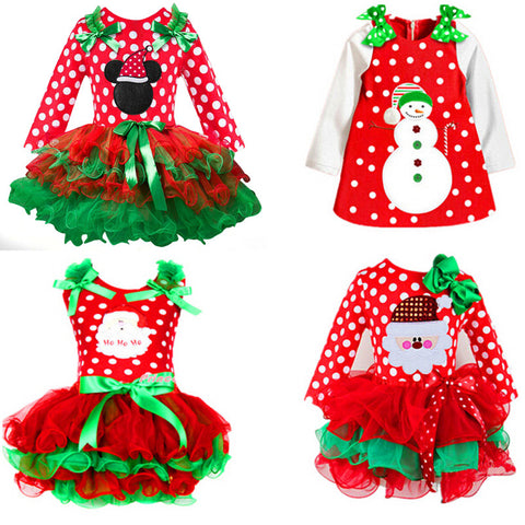 New Year Baby Girl Christmas Dress Girl's Merry Christmas Dress Children Kids Cotton Dot Dress Girls Tutu Santa Clus Costume - TRIPLE AAA Fashion Collection