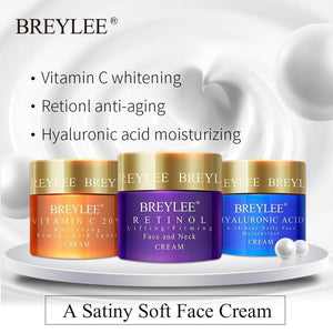 BREYLEE Face Cream Hyaluronic Acid Moisturizing DayCream Retinol Anti Wrinkle Vitamin C Whitening Skin Care Acne Treatment 40g - TRIPLE AAA Fashion Collection