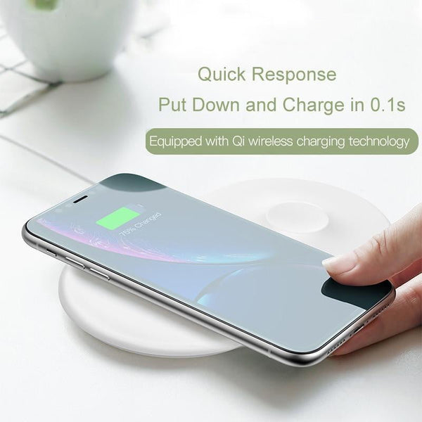 Baseus 2 in 1 Wireless Charger Pad For Apple Watch iPhone X Xs Max XR Desktop Fast Wireless Charging Charger Born for Apple Fans - TRIPLE AAA Fashion Collection