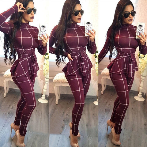Plaid Print Bodycon Jumpsuit Women Turtleneck Long Sleeve Peplum One Piece Overalls Skinny Party Casual Romper Catsuit Sashes - TRIPLE AAA Fashion Collection
