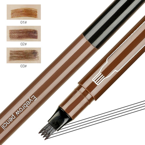 3 Colors Microblading Tattoo Eyebrow Pencil Waterproof Fork Tip 4 Head Eye Brow Pencils Eye Liner Beauty Makeup Tools TSLM1 - TRIPLE AAA Fashion Collection