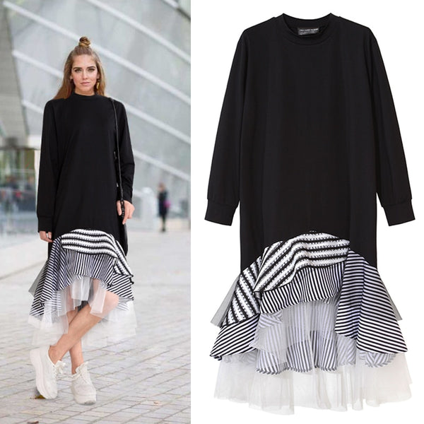 Women Long Sleeve T Shirt Midi Dress Patchwork Stripe Mesh Ruffle Flare Asymmetrical Hem Pullover Casual - TRIPLE AAA Fashion Collection