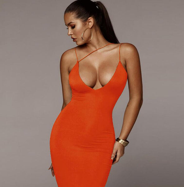 Spaghetti Strap Backless Sexy Bodycon Dress Sleeveless V Neck Summer Long Dress - TRIPLE AAA Fashion Collection