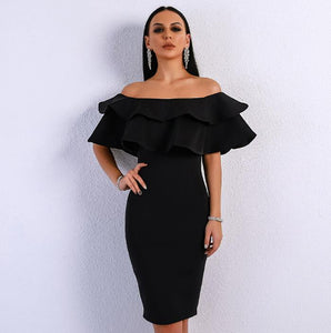 Women Sexy Off Shoulder Slash Neck Ruffles Backless Dresses Female Split Elegant Solid Color Dress - TRIPLE AAA Fashion Collection