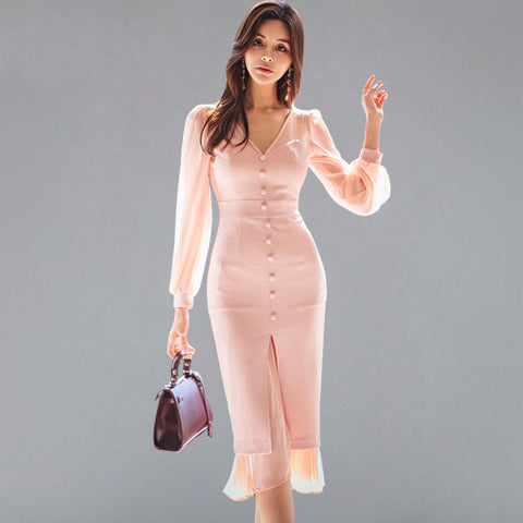 Queen Sexy V-neck Chiifon Bodycon Dress Women 2018 Autumn Winter Slim Single-breasted Dresses See Through Split Vestidos - TRIPLE AAA Fashion Collection