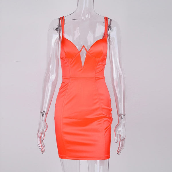 Summer Satin Mini Dress Women Padded Bra Double Straps Plunging Neckline Cut Out Sexy Dress Orange Party Bodycon Dresses - TRIPLE AAA Fashion Collection