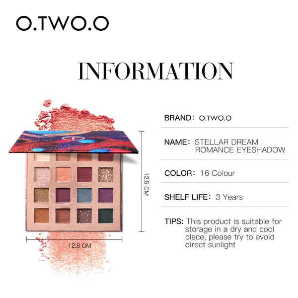 O.TWO.O Stellar Romance Eyeshadow Palette 16 Colors Charming Pigment Eye Shadow Matte Shimmer Glitter Powder Lasting Makeup - TRIPLE AAA Fashion Collection