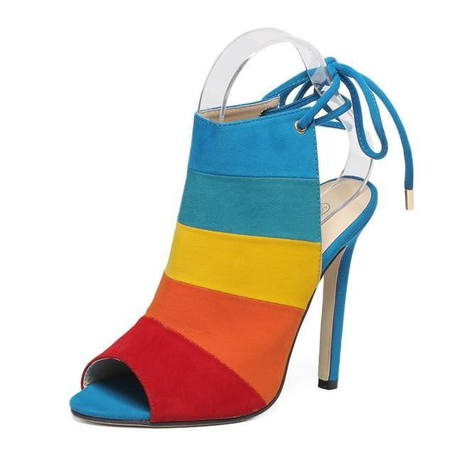 Koovan Women's Shoes Pumps Heeled Shoes High-heeled Rainbow Color Mixed with Fish Mouth Sandals Colors Pumps Size 40 - TRIPLE AAA Fashion Collection