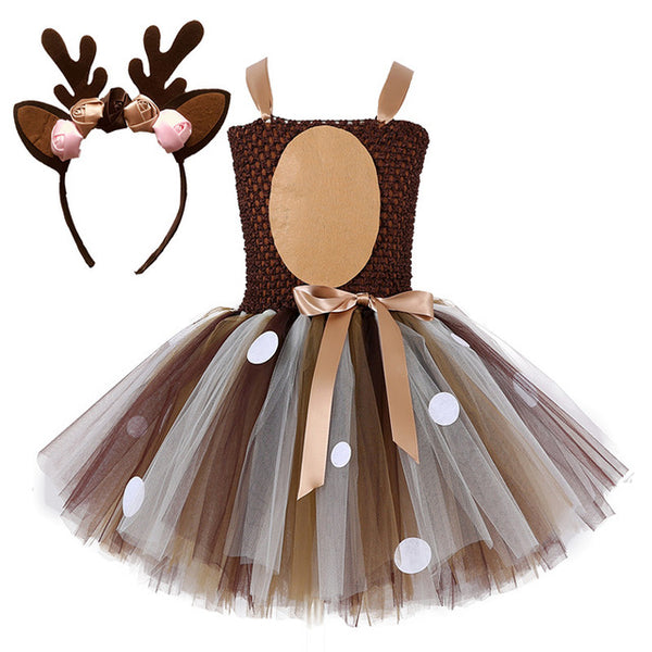 Deer Tutu Dress Baby Girls Dresses for Girls Halloween Costume For Kids Elk Cosplay Christmas Birthday Party Dress With Headband - TRIPLE AAA Fashion Collection