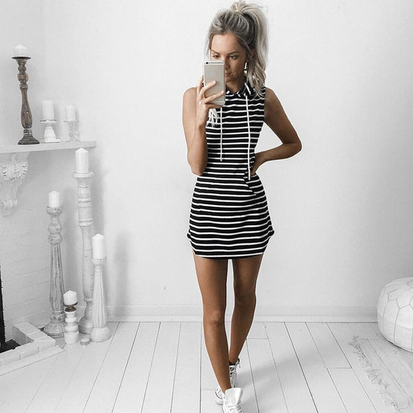 Summer Hoodie Sweatshirt Female Fashion Stripe Dress Short Bodycon Casual Dresses - TRIPLE AAA Fashion Collection