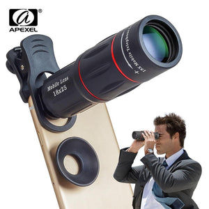 APEXEL 18X Telescope Zoom Mobile Phone Lens for iPhone Samsung Smartphones universal clip Telefon Camera Lens with tripod 18XTZJ - TRIPLE AAA Fashion Collection