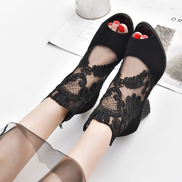 Summer Mesh Peep Toe Sandals Sexy Heels Single Shoes - TRIPLE AAA Fashion Collection