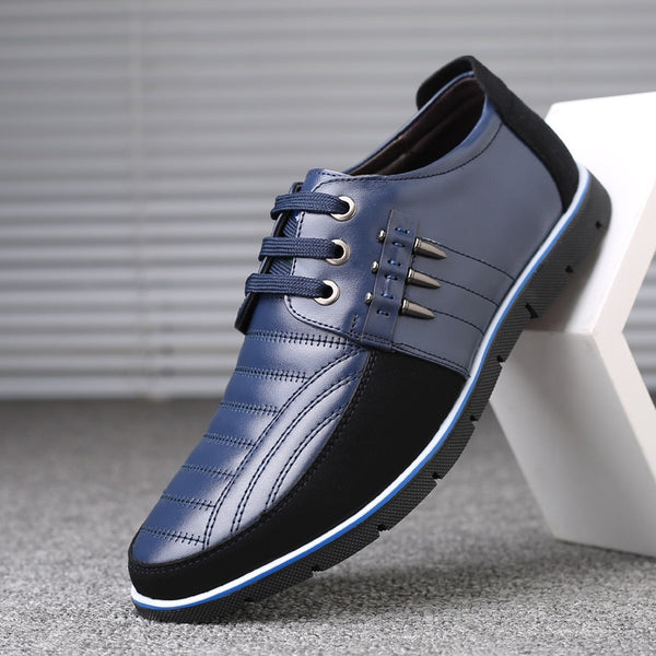Men genuine leather shoes High Quality Elastic band Fashion design Solid Tenacity Comfortable Men's shoes big sizes - TRIPLE AAA Fashion Collection