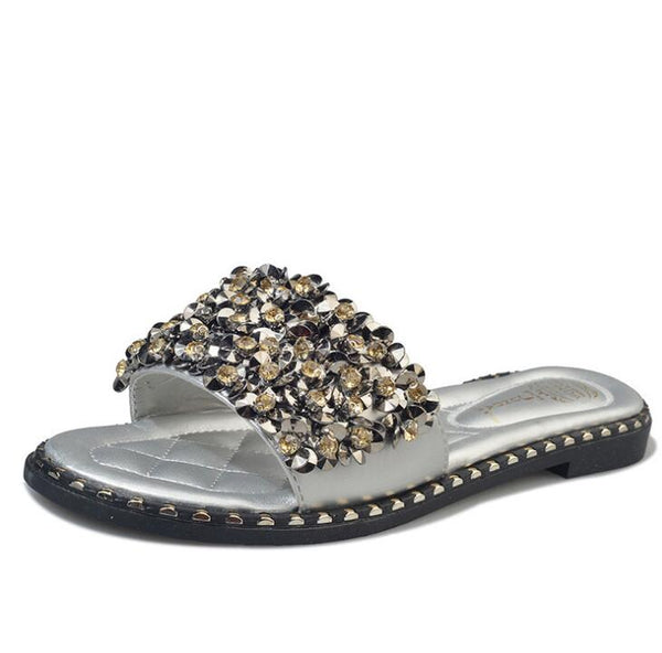 Women Casual Summer Flat Beach Slippers Female Crystal Rivets Slides Slipper Shoes For Girls Fashion Woman Leisure Footwear - TRIPLE AAA Fashion Collection