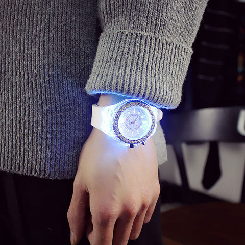 Led Flash Luminous Watch Personality trends students lovers jellies woman men's watches 7 color light WristWatch - triple-aaa-fashion-collection