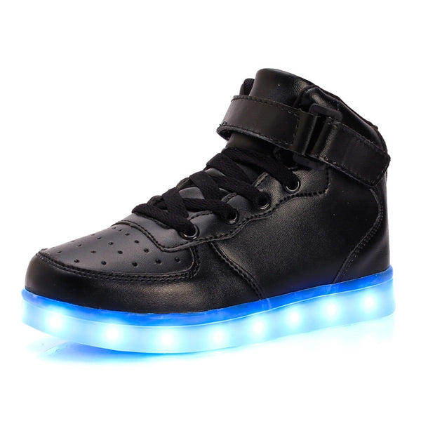 Led Children Shoes 2018 USB Charging Basket Shoes With Light Up Kids Casual Boys&Girls Sneakers Gold silver - TRIPLE AAA Fashion Collection