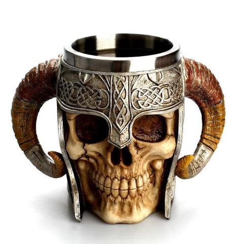 Stainless Steel Skull Mug Viking Ram Horned Pit Lord Warrior Beer Stein Tankard Coffee Mug Tea Cup Halloween Bar Drinkware Gift - TRIPLE AAA Fashion Collection