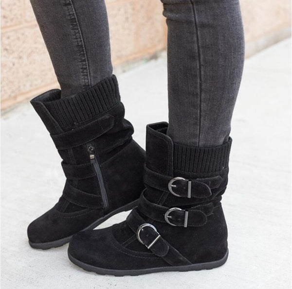 Winter buckled calf women's boots, winter women's warm zipper boots, plain flat shoes, large size women's casual boots - TRIPLE AAA Fashion Collection