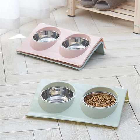Dog Food Double Bowl Pet Products Stainless Steel Pet Bowl Pet Feeding Tool Tableware Cat Dog Puppy Travel Feeding Feeder - TRIPLE AAA Fashion Collection