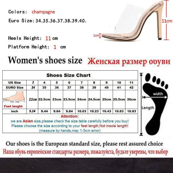 PVC Champagne Slippers Open Toed Sexy Thin Heels Women Transparent Heel Sandals Slides Pumps - TRIPLE AAA Fashion Collection
