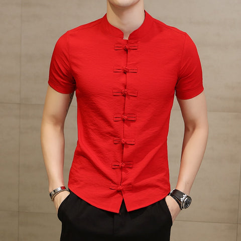 Men Shirt Fashion Chinese style Linen Slim Fit Casual Short Sleeves Shirt Camisa Social Business Dress Shirts - TRIPLE AAA Fashion Collection