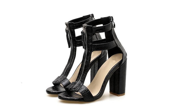 Black Cut-outs Peep Toe Gladiator Sandals Boots Ladies Fashion Heels Stone Pattern Sandals - TRIPLE AAA Fashion Collection