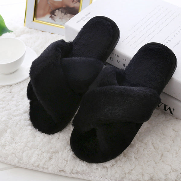 Winter Women Slippers Plush Warm Home Slipper Indoor Shoes Ladies furry Slides Casual Shoes pantoffels dames flip flops - TRIPLE AAA Fashion Collection