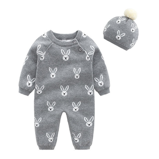 Baby Girls Clothes Set Soft Cotton Knitted Newborn Infant Boys Rompers+Hats 2pcs Outfits Autumn Winter Children's Costumes - TRIPLE AAA Fashion Collection