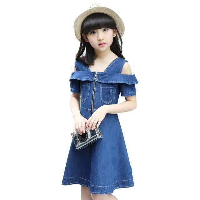 Girls Denim Dresses for Children Jean Clothes Casual Dress Blue Short Sleeve Jeans - TRIPLE AAA Fashion Collection