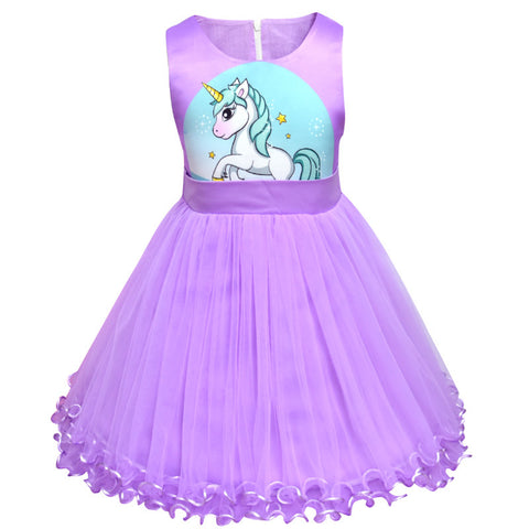 Summer Flower Girl Dresses Cartoon Unicornis Party Unicorno Dress Baby Girl Clothes Little Mermaid Princess Dress 8Yrs - TRIPLE AAA Fashion Collection