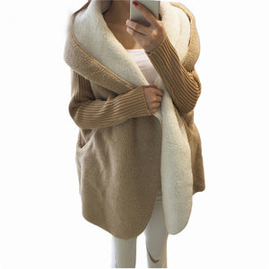Loose Lamb Wool Cardigan Solid Color Hooded Long Fashion Coat Knitted Sleeve Stitching Warm Jacket - TRIPLE AAA Fashion Collection