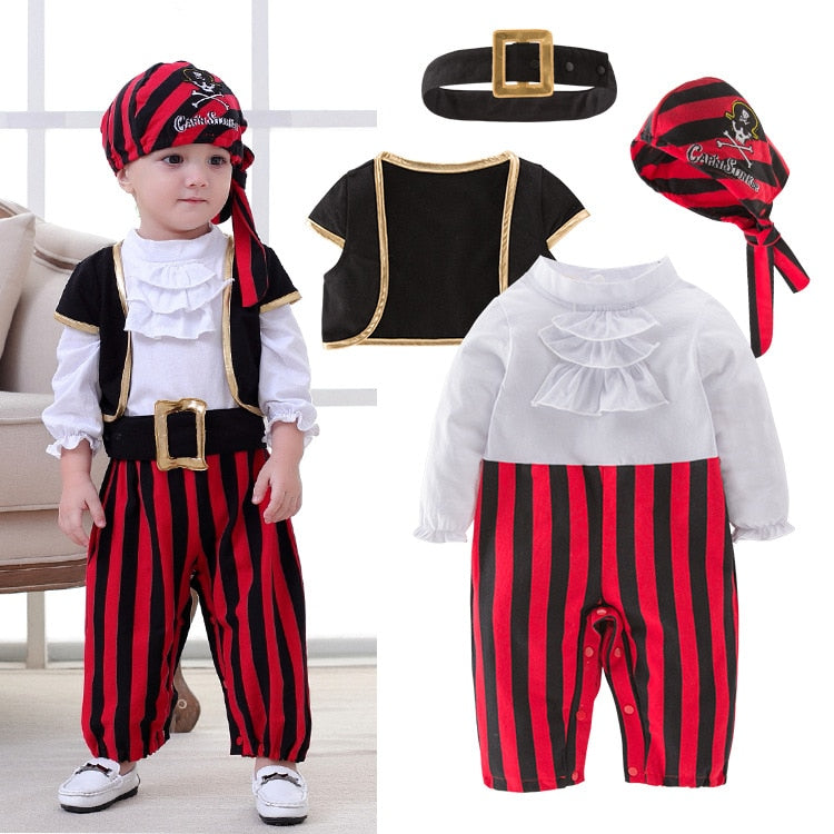 Pirate Captain Cosplay Clothes for Baby Boy Halloween Christmas Fancy Clothes Halloween Costume for Kids Children Pirate Costume - TRIPLE AAA Fashion Collection