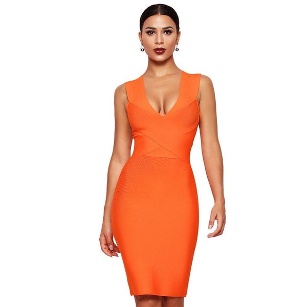Sexy Dress Club Wear Party Dress Sleeveless Orange Wine Red Women Bandage Dresses - TRIPLE AAA Fashion Collection
