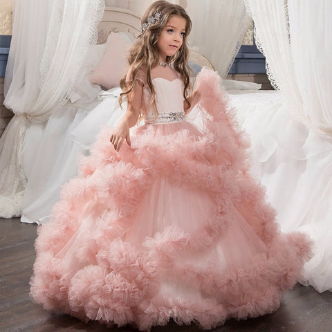 Stunning V-Back Luxury Pageant Tulle Ball Gowns for Girls 2-13 Year Old Pink Color Little Princess Flower Girl Dresses Party - triple-aaa-fashion-collection