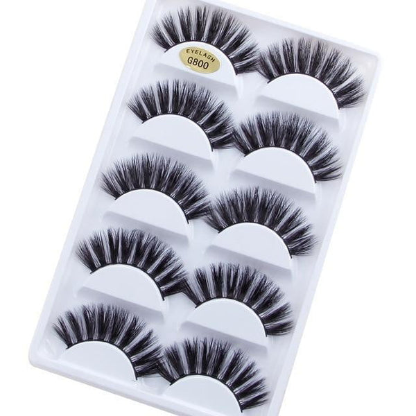 5Pairs 3D Mink Lashes False Eyelashes Natural Eyelash Extension Volume Lashes Long Cross Faux Eye Lashes Makeup G800 G815 Fake L - TRIPLE AAA Fashion Collection