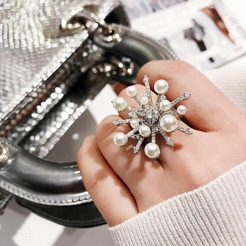 Fashion Big Snowflake Rings For Women Creative Statement Ring Jewelry Personality Open Design Adjustable - TRIPLE AAA Fashion Collection