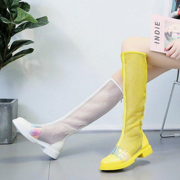 Knee High Boots Women's Sandals Shoes Sequins Hollow Out Summer Boots Low Heel Motorcycle Boots - TRIPLE AAA Fashion Collection