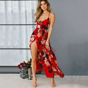 Red Floral Print backless summer dress Women deep V neck bohemian maxi dress Spaghetti irregular long dress - TRIPLE AAA Fashion Collection