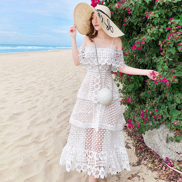 Runway Summer Slash Neck Cake Holiday Long Dress Women Layers Ruffles Hollow Out White Dress Sexy Backless Vestido - TRIPLE AAA Fashion Collection