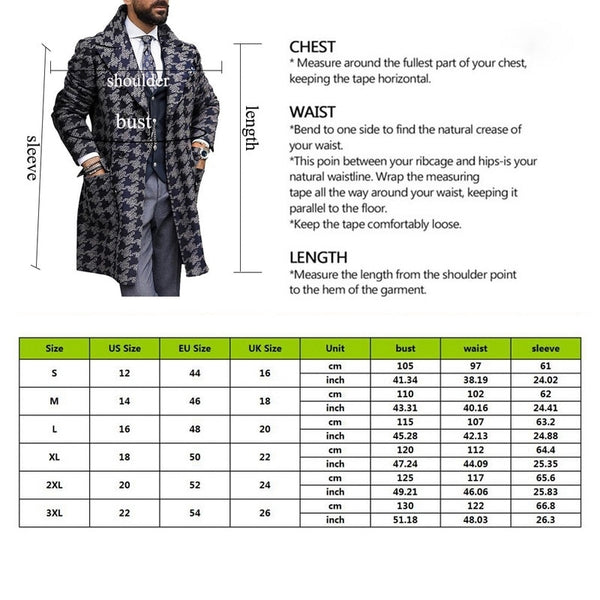 Men Long Woollen Wind Coat  2020 Houndstooth Jacket Men Trench Coat - TRIPLE AAA Fashion Collection