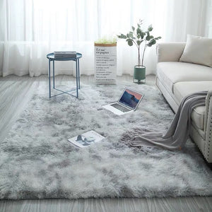 Grey Carpet Tie Dyeing Plush Soft Carpets For Living Room Bedroom Anti-slip Floor Mats Bedroom Water Absorption Carpet Rugs - TRIPLE AAA Fashion Collection