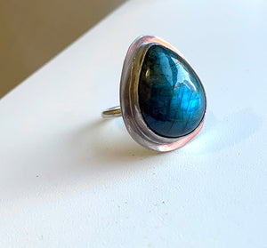 Labradorite Pear Ring -7