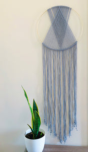 Grey Macrame Hoop Wall Hanging