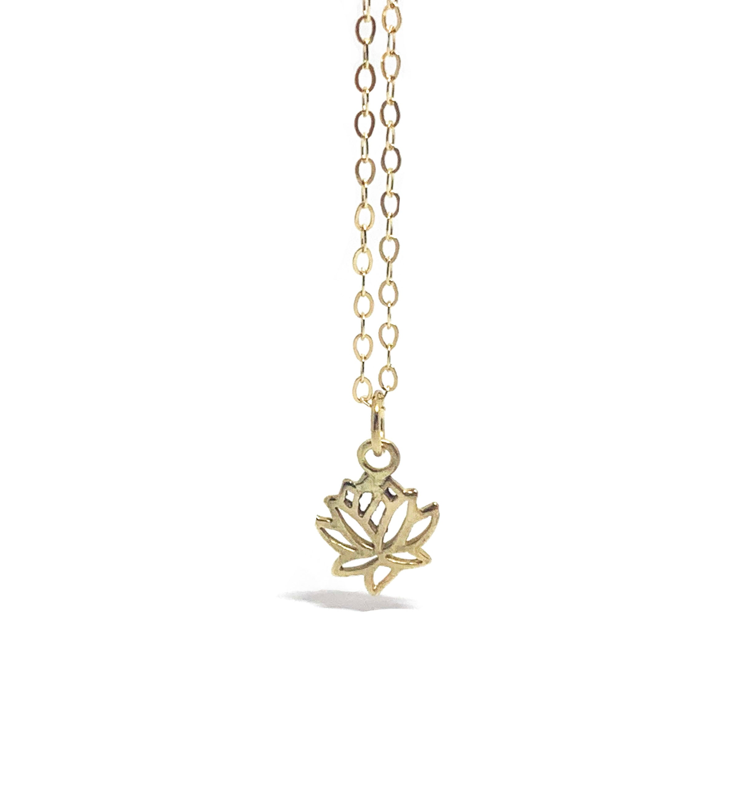 14K Lotus Necklace