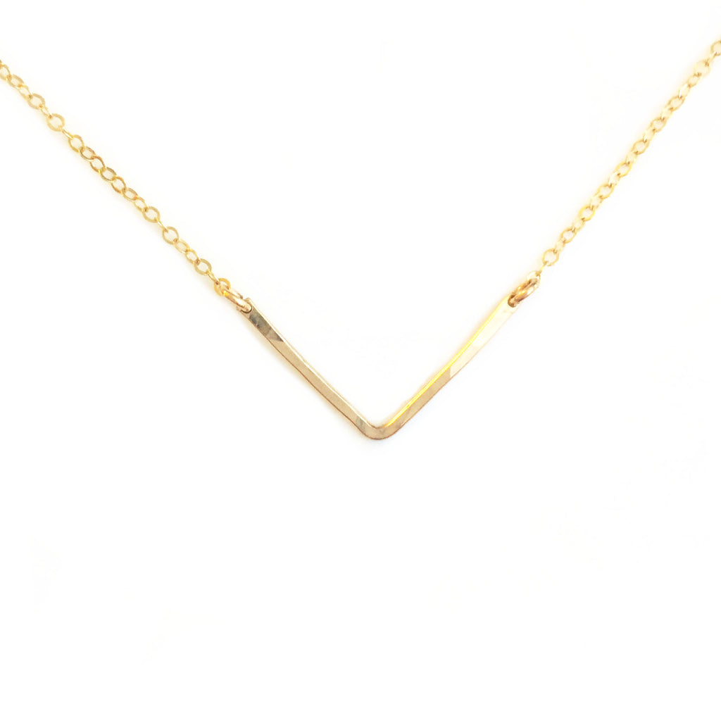 14K Chevron Necklace