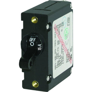 Blue Sea 7208 AC - DC Single Pole Magnetic World Circuit Breaker  -  15 Amp [7208]