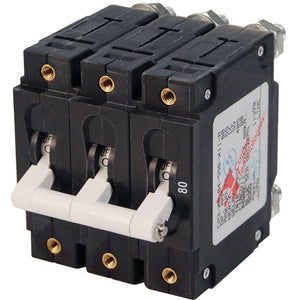 Blue Sea 7289 C-Series Triple Pole Circuit Breaker - 80A [7289]