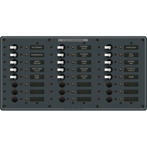 Blue Sea 8264 Traditional Metal DC Panel - 24 Positions [8264]