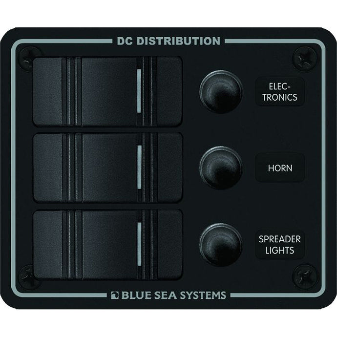 Blue Sea 8374 Water Resistant 3 Position - Black - Vertical Mount Panel [8374]